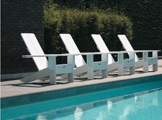 Modern Adirondack Chairs  Simple design all in white, what a classic.