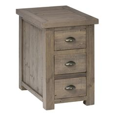 Jofran 940-8 Slater Mill Pine Chairside Table with 3 Drawers