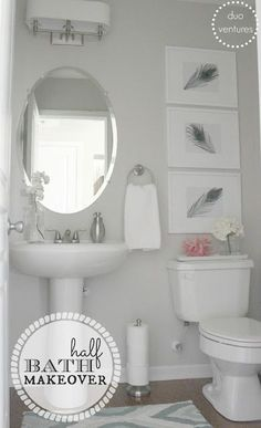 Half Bath Makeover - love the DIY art, the paper towel holder for extra toilet paper and the paint color