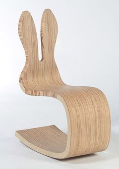 Bunny Children's Rocking Chair designed by Kateřina Zemánková. For children 3 to 6 years. Very solid construction made of plywood. Chair can be used to sit in two ways both frontwards & backwards. Wittily replaces the classic rocking horse.