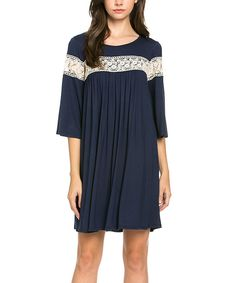 Look at this #zulilyfind! My Space Navy Lace-Trim Bell-Sleeve Dress by My Space #zulilyfinds