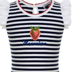 Monnalisa Baby Girls White and Navy Striped T-Shirt with Strawberry Print and Embroidered Sleeves - Monnalisa from Chocolate Clothing UK