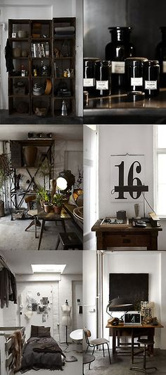 mix of industrial, white space and dark accents.