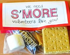 """S'mores Kit:  Volunteer Appreciation Gift.  Would be a great """"thank you"""" for Sunday School teachers."""