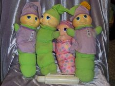 Vintage Hasbro Playskool Gloworm Plush Doll Lot Of 4 Musical Working Battery Box