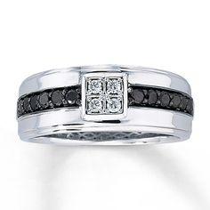 Mens Diamond Ring 1/2 ct tw Round-cut  10K White Gold