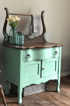 Antique Wash Stand Goes From Ready For The Dump To Farmhouse Chic Wash Stand Makeover Dixie Belle Mint Julep