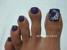 I'd do this on either my toes just as is or on my nails with the flower on my middle finger. Pretty Toe Nails, Cute Toe Nails, Fancy Nails, Gorgeous Nails, My Nails, Pretty Toes, Blue Nails, White Nails, Toe Nail Color