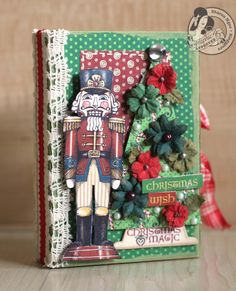 This is one amazing Nutcracker Sweet altered box by @Sharon Ngoo! She upcycled a box a gift came in, and came up with this treasure! Using Petaloo flowers, she really created a beauty! #graphic45 #petaloo