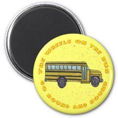 Custom name School Bus Wheels Magnets