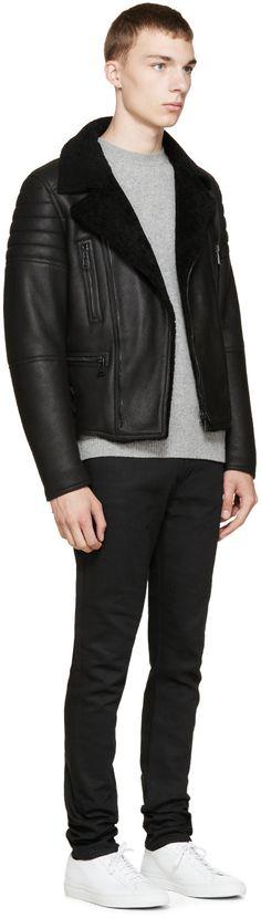 Belstaff Black Shearling Fraser Jacket