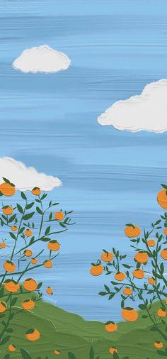 Blue Butterfly Wallpaper, Orange Wallpaper, Scenery Wallpaper, Aesthetic Pastel Wallpaper, Cute Wallpaper Backgrounds, Flower Wallpaper, Aesthetic Wallpapers, Wallpaper Doodle, Cute Patterns Wallpaper