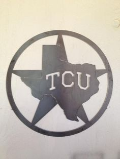 Texas Christian University wall sign college metal art. $50.00, via Etsy.