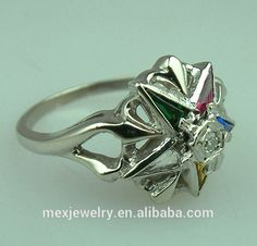 18k Gold Women and Ladies Masonic Eastern Star Enamel Colorful Stylish Diamond Ring