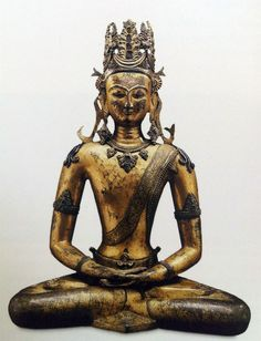 Tibetan Buddhist Statue of Vairochana, Central Tibet, 9th Century (copper alloy with gilding)