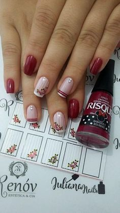 45 Fotos de Unhas decoradas com flores – Passo a passo . Spring Nail Art, Spring Nails, Fall Gel Nails, Holiday Nails, Christmas Nails, Gorgeous Nails, Pretty Nails, Gel Manicure, Manicure Ideas