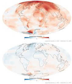 This image shows the difference in average surface temperatures from 1970-79 (bottom) to 2000-09 (top) due to global warming. Both maps show temperature anomalies, not absolute temperature. Anomalies refer to the average temperature as of 1951-1980.  NASA
