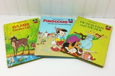 Peter Pan & Wendy, Pinocchio Puppet Show Adventure, Bambi Grows Up, Disney Wonderful World of Reading Collection by naturegirl22 on Etsy