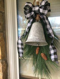 Buffalo Plaid Wreath, Farmhouse Wreath,Buffalo Check Swag, H Christmas Swags, Plaid Christmas, Christmas Bells, Outdoor Christmas, Holiday Wreaths, Christmas Home, Christmas Crafts, Christmas Snowman, Christmas Christmas