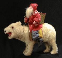 Antique Santa on polar bear candy container, German, ca.1910 | Expired Ebay listing