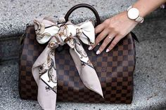 Louis Vuitton Speedy 35 in damier ebene, Scarf, Carré, Tuch, Schleife