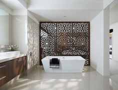 love this design for an ensuite – nice partition wall between bedroom and bathro… - Home Professional Decoration Home Interior, Bathroom Interior, Interior And Exterior, Interior Design, Bad Inspiration, Bathroom Inspiration, Interior Inspiration, Bathroom Ideas, Morrocan Decor
