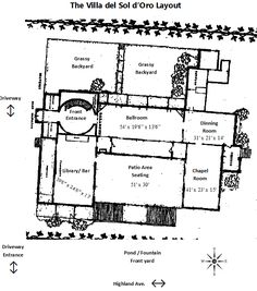 The basic layout for the Villa del Sol d'Oro by Santa Anita Gardens Catering Th… Library Bar, Pond Fountains, Villa, Bar Seating, Layout, Tree Trunks, Paving Stones, Front Entrances, Room Dimensions