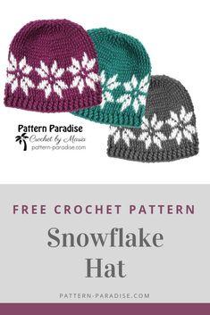 Free Crochet Pattern: Snowflake Hat - New Ideas Crochet Adult Hat, Bonnet Crochet, Crochet Beanie Pattern, Crochet Simple, Crochet Diy, Crochet Gifts, Crochet Ideas, Motifs Beanie, Knitting Patterns