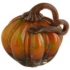 Green & Orange Glass Pumpkin - Small