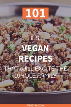 Looking for delicious, vegan recipes you can make at home? Check out this 101 round-up of some of the best vegan recipes out there! Best Vegan Recipes | Vegan Breakfast Recipes | Vegan Lunch Recipes | Vegan Dinner Recipes | Vegan Dessert Recipes | → VegByte.com | #veganrecipes #vegandietrecipes