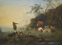 FFOLLOWER OF HENDRIK MOMMERS PASTORAL LANDSCAPE WITH HERDERS, COWS, SHEEP AND DOGS oil on canvas 96.5 by 131.5 cm.; 38 by 51 7/8  in. via Sotheby's