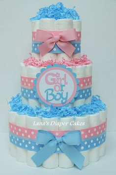 Pink & Blue Boy Or Girl Diaper Cake Baby Shower Centerpiece