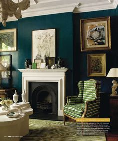 dark teal walls , drawn to this wall color , but for which room? House Design, Blue Walls, Teal Walls, Teal Paint Colors, Home, Teal Living Rooms, Dark Walls, Wall Color, Teal Paint