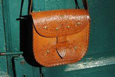 Leather shoulder bag, tooled leather purse, leather shoulder bag, brown leather bag, tooled leather bag, ethnic leather bag