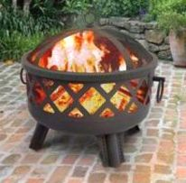 Garden Lights Sarasota Fire Pit w/ Poker Diamond Cutouts Black Landmann 26384