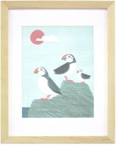 """""""Puffin Family"""" by Anna See, available at Serena & Lily. #serenaandlily"""