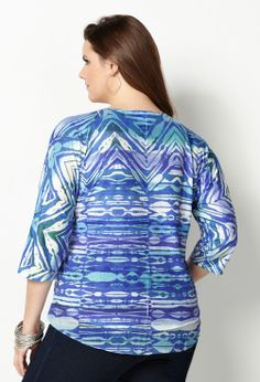 Abstract Watercolor Sequin Tee-Plus Size Tee-Avenue