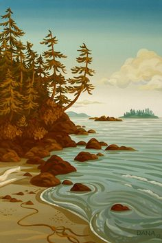 Growing up on Vancouver Island has provided artist Dana Statham no shortage of inspiration when it comes to her creative process. Coastal landscapes, arbutus trees, and underwater kelp gardens are common themes in her work. Salish Sea Market