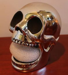 This would be the perfect soap dish. Biker, Household, Chrome, Skull, Kitchen Stuff, Kitchen Decor, Soap Dishes, Ebay, Spaces