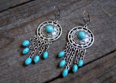 Turquoise boho tribal long earrings-Silver earrings-Turquoise earrings-Boho jewelry-Vintage inspired-Gemstone jewelry-Dangle earrings