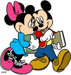 Mickey and Minnie with books.