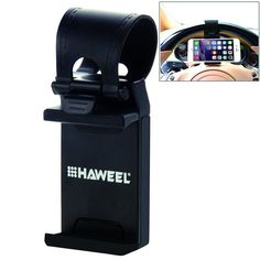 Amazon.com: HAWEEL® Universal Car Steering Wheel Phone Mount Holder for iPhone 6 & 6 Plus / Width of 5.5-8.6cm Smartphone(Black): Cell Phones & Accessories