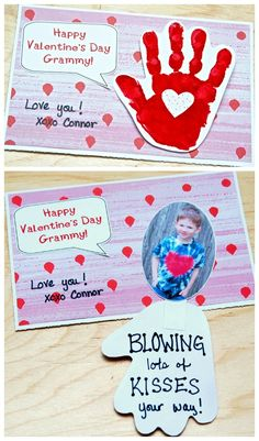 Cuteness overload with this ADORABLE handprint Valentine card to make with kids! Handprint Valentine's Day Card - Blowing Kiss Your Way Kinder Valentines, Valentine Crafts For Kids, Valentines Day Activities, Funny Valentine, Baby Crafts, Valentines Diy, Holiday Crafts, Valentine Cards, Valentine For Dad