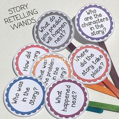 story retelling wands- use these wands when reading stories with your class. After reading a book- pull a wand and ask a question. Reading Intervention, Reading Skills, Teaching Reading, Learning, Reading Response, Kindergarten Literacy, Literacy Activities, Preschool, Guided Reading Activities