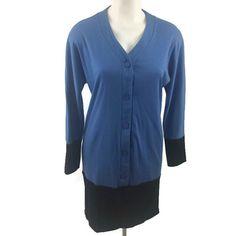 VTG Avon Fashions Two Tone Blue Knit Long Sleeve Dress Casual Size JRS 9/10  #AvonFashions #DropWaist #Casual