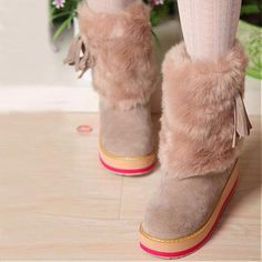 Womens Boots   New Design Apricot PU Cony Hair Round Closed Toe Wedge Low Heel Boots - Hugshoes.com