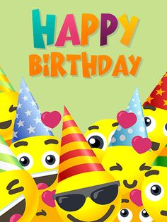 Send Free Smiley Face Birthday Party Card for Kids to Loved Ones on Birthday & Greeting Cards by Davia. It's free, and you also can use your own customized birthday calendar and birthday reminders. Happy Birthday Smiley, Happy Birthday Little Boy, Birthday Greetings For Kids, Happy Birthday Ballons, Happy Birthday Hearts, Happy Birthday Daughter, Happy Birthday Wishes Cards, Birthday Greeting Cards, Card Birthday