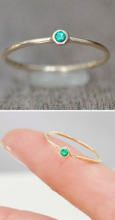 Emerald & Gold Ring ♥.  Need one for each of my babies with their birthstones!