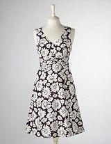 Riviera dress -- purple daisy bed.  Boden -- Spring 2011.
