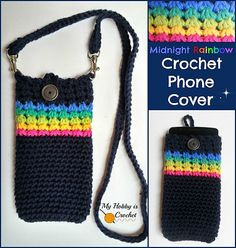 Ravelry: Midnight Rainbow Phone Cover with detachable strap pattern by Kinga Erdem
